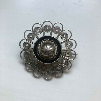 Antique Filigree Silver with Black Enamel Mourning Brooch