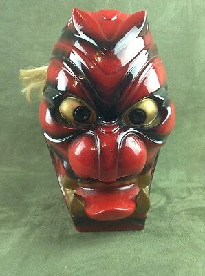 Rare Antique Asian Japanese Aka-Oni Red Demon Porcelain Bottle Mask Face Kabuki