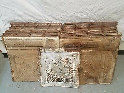 "Large Lot of 58 Antique Metal Tin Ceiling Tiles 24""X24"" Pressed Stamped Embossed"