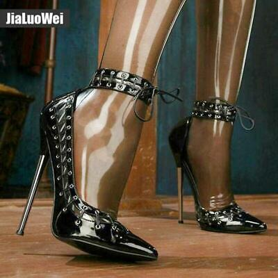 Womens Stilettos Ankle Straps High Heels Shoes Pointy Toe Slip On 12cm 36-46 New