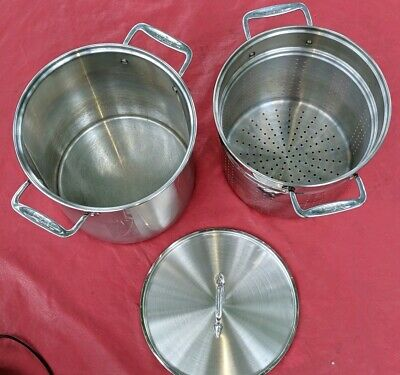 VERY NICE ALLCLAD 12 Qt Multi Cooker Stock Pot w/Lid & Steamer Strainer ALL CLAD
