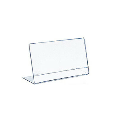 Horizontal Slanted, L-Shape Acrylic Sign Holder 10W x 8H Inches - Box of 10