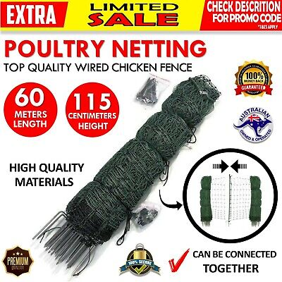 POULTRY NETTING Quality European Made Chicken Electric Fence 60m X 115cm