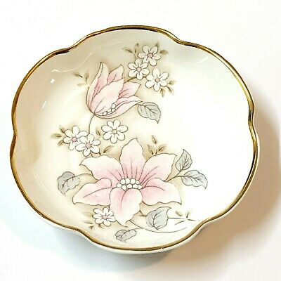 English Bone China Butter Pat Pin Dish,  9cm Scalloped Rim, Pink Floral