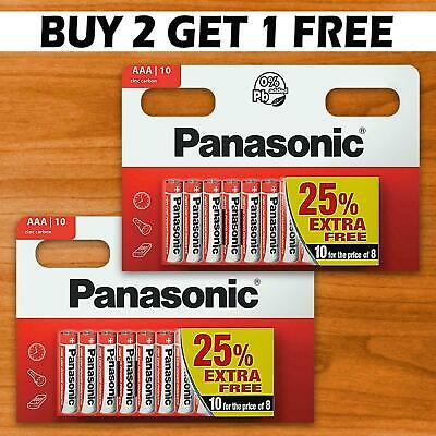 20 x AAA Genuine PANASONIC Zinc Carbon Batteries - New LR03 1.5V MN2400 2022