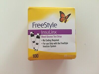 100 FreeStyle Insulinx Diabetic Test Strips EXP 05/31/2020 (1X100Ct) [Dings]