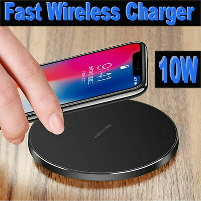 Qi Wireless Charger Fast Charging Pad Stand For iPhone X XR 8 Samsung S10 S9 S8