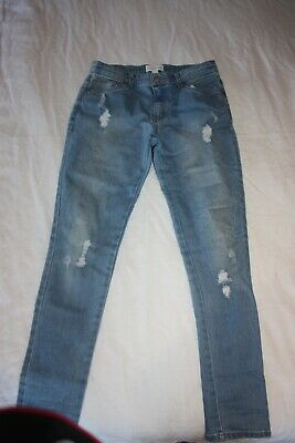 Country Road Girls Size 12 Years Blue Denim Distressed Skinny Leg Jeans As New