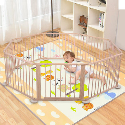 Baby Playpen Foldable Wooden Frame Kids Play Center Yard Home Indoor&Outdoor