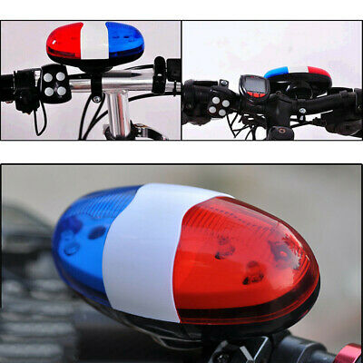 4 Sounds 6 LED Electric Horn Bell Police Car Siren Light For Bike Cycling SPD