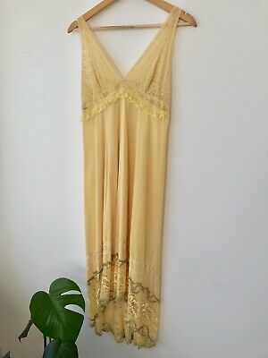Vintage Yellow Lace Nightgown Slip Negligee Size 10
