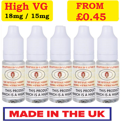 Nic Shot Nicotine Shots 10ml -15mg/ml or 18mg/ml High VG Premium Inspired Vapour