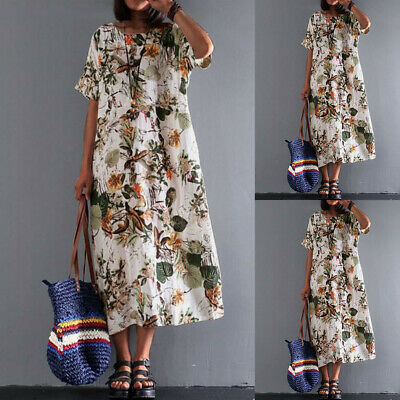 Women Ladies Summer Holiday Boho Floral Cotton Linen Maxi Long Kaftan Dress Size