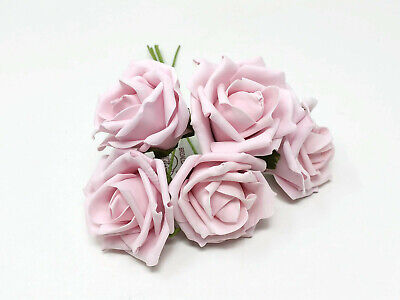 Antique Pink Foam Rose Bunch - 5 Head x 7cm -  Artificial Flower Wedding Decor