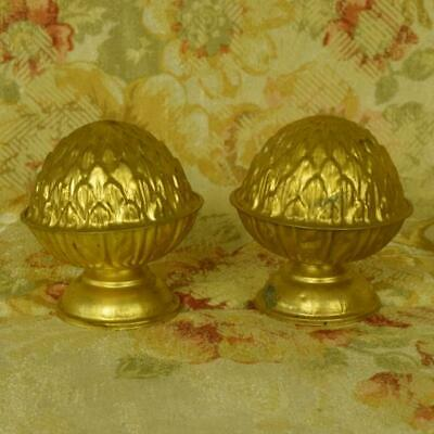 Gorgeous Pair  Antique French Toleware Chateau Curtain Pole Finials,19th C