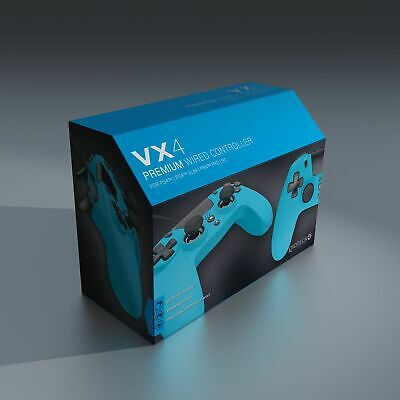 Gioteck VX4 Wired Blue Controller (PS4) Brand New Free UK P&P