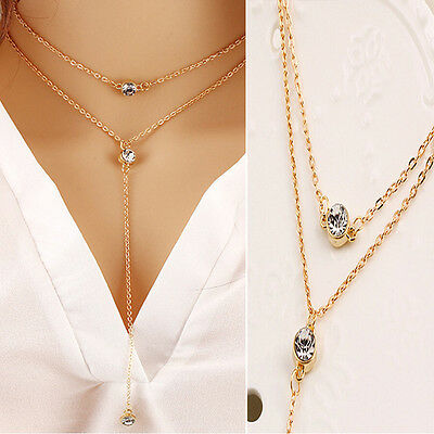 Fashion Crystal Rhinestone Choker Collars Double Layer Women Sweaters Necklaces