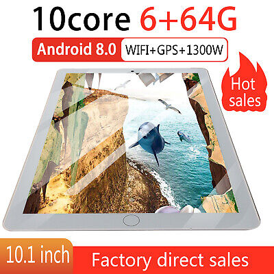 """10.1"""" HD Tablet PC Android 8.0 64GB Google Ten-Core Dual Camera WIFI Tablet UK"""