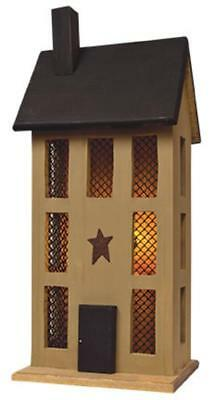 Primitive TALL MUSTARD LIGHTED HOUSE Saltbox Country Farmhouse Rustic Village