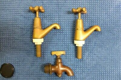 Brass taps  1 x old rainwater tap plus 2 vintage reproduction hot and cold water