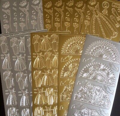 Peel Off Stickers 1 Sheet in Silver Gold or Black. With Sympathy Style