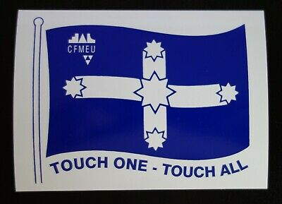 LARGE CFMEU UNION TOUCH ONE TOUCH ALL MINING STICKER 220x160mm