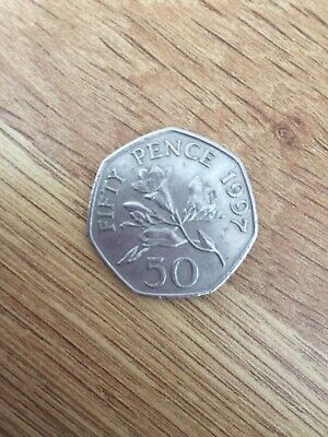 1997 50P Fifty Pence Coin Freesia Flower Bailiwick Of Guernsey