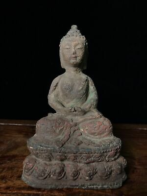 "6"" Chinese old antique aloeswood wooden handcarved Sakyamuni Buddha statue D5"