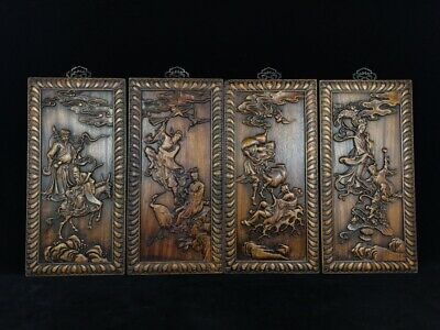 """20"""" China antique huanghuali wooden handcarved Eight Immortals screen statue D3"""