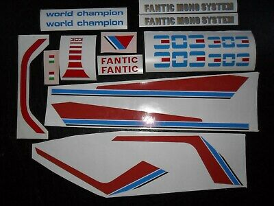 Fantic 203, 243 or 303 air-c-mono Trials tank/seat unit stickers: x2 types shown