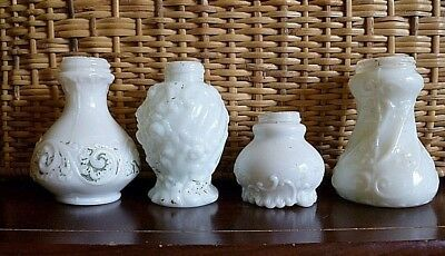 Lot of (4) EAPG Victorian White Milk Glass Salt Shakers With No Lids