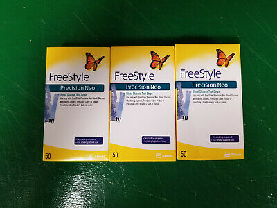 3 Boxes FreeStyle Precision NEO 50 Ct Diabetic Test Strips 150 Total NEW!!