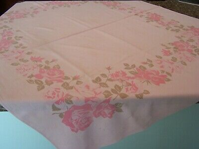 "Vintage Tablecloth Pink With Pink Roses 48"" X 26"" California Hand Prints"