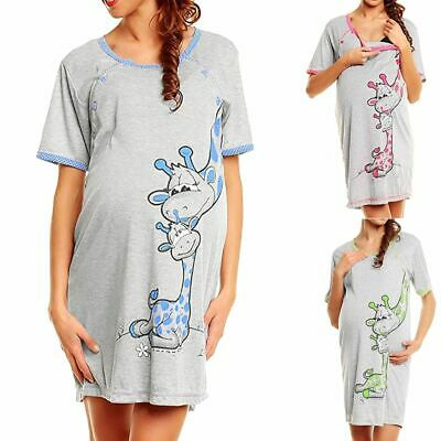 Maternity Dress Women Cartoon Print Short Sleeve Nightdress Cotton Pregnant