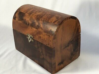 Antique DOME TOP Old BURL WOOD Hinged Treasure Chest TEA CADDY BOX - Beautiful