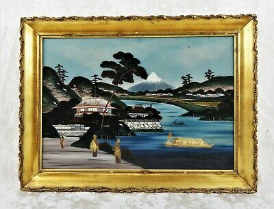 Antique Japanese Reverse Painting on Glass with Photos Mount Fuji Mother Pearl