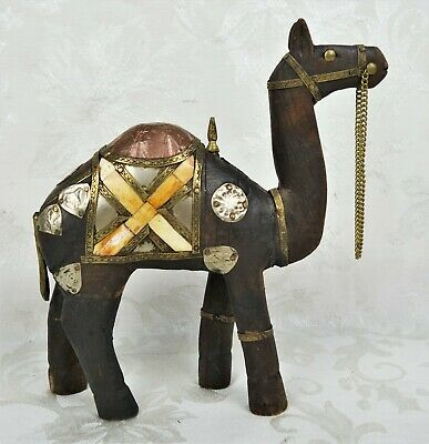 Vintage Bone Inlay Carved Wooden Figure Wood Statue Brass Tin Camel Inlaid