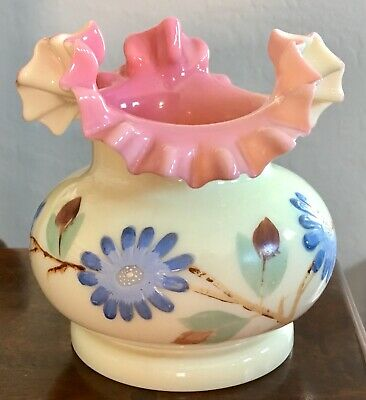Vintage Unmarked Fenton Hand Painted Ruffled Bowl Cream & Pink