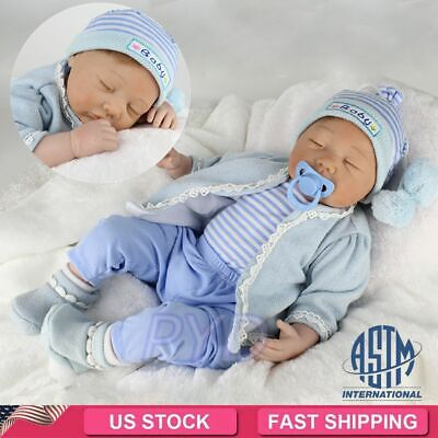 22'' Realistic Reborn Baby Dolls Vinyl Silicone Floppy Hair Sleeping Boy Doll