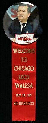 """1989 Lech Walesa President of Poland """"Welcome to Chicago"""" 10"""" Pin w/ Ribbon"""