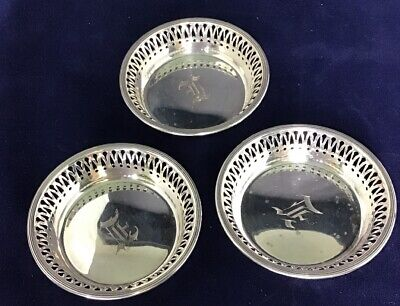 Antique Engraved STERLING SILVER Mini Dishes (Pair Of Three)
