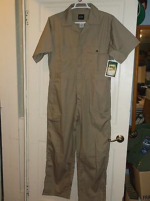 Key Industries Short Sleeve Coveralls~TAN~Men's Large~Cargo Pockets~QUALITY~NWT