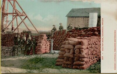 Exterior View Men Resting Red Top Mine Goldfield NV Postcard C41