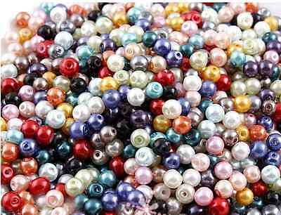 200pcs 4mm Mixed Color Glass Pearl Czech Round Spacer  Loose Beads
