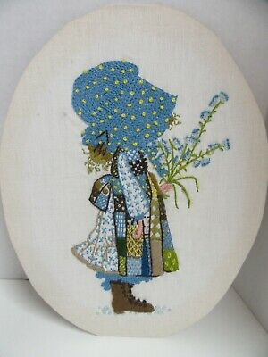 Finished Embroidery Holly Hobbie Girl Flowers Completed Oval 11x14
