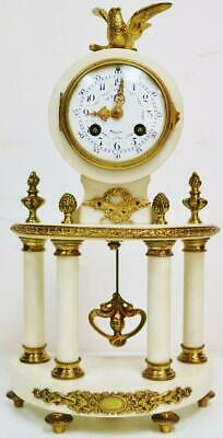 Antique French 8 Day Bronze & White Marble Bow Fronted Portico Mantel Clock
