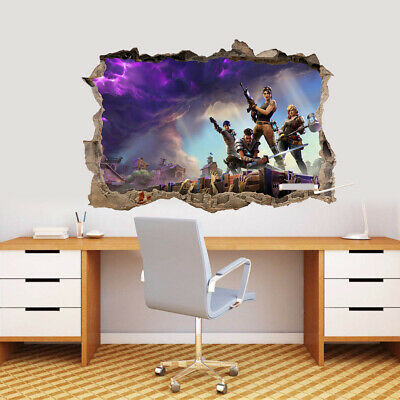 Fortnite Video Game 3D Hole In Wall Wall Sticker Decal DIY Mural Graphic
