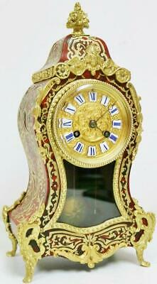 Antique French 8 Day Red Shell & Bronze Ormolu Bell Striking Boulle Mantel Clock
