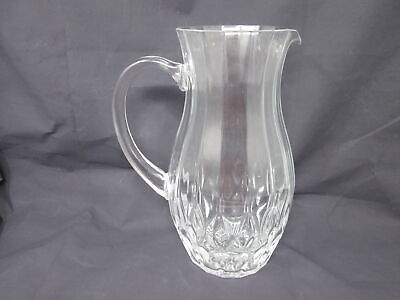 """Vintage Ribbed Clear Glass Pitcher Georgian Iced Tea Juice Milk Water 9.5"""" Tall"""