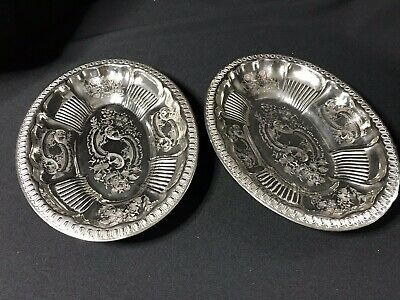 Antique Silver Plated Oval Serving Dishes X2